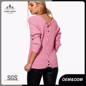 V Neck Ribbed Lace up Back Pullover Sweater for Women pictures & photos
