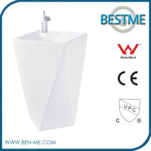 Washroom White Pedestal Basin in Bathroom Sinks Diamond Shape pictures & photos