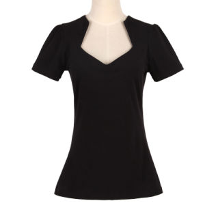 Candow Clothing Deep V Neck Ladies Plain Black Sexy T Shirt 100%Cotton pictures & photos