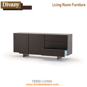 Walnut Color TV Cabinet, Wooden TV Cabinet with Stainless Steel Legs pictures & photos