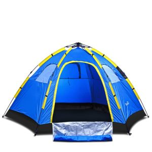 Instant Family Tent - 4 Person Large Automatic Pop up for Outdoor Sports Camping Hiking Travel Beach with Zippered Door and Carrying Bag in Blue pictures & photos
