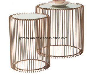 Toughened Glass Tea Table Rose Gold Round The Table Iron Wire Side Table (M-X3774) pictures & photos
