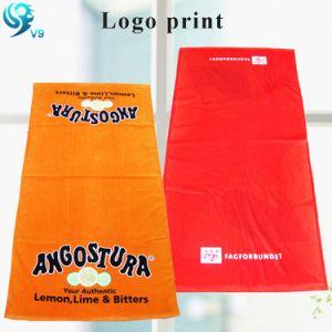 Simple Design 100% Cotton Velour Reactive Print Custom Brand Logo Towel pictures & photos