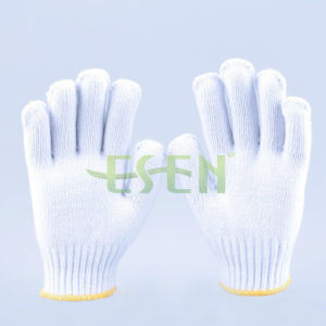 700g White Cotton Yarn String Knitting Work Glove PVC Dots (K10-B5-7) pictures & photos