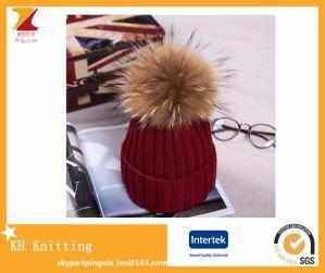 High Quality Custom Winter Knitted Snapback Beanie Hat with Raccoon Fur POM- POM
