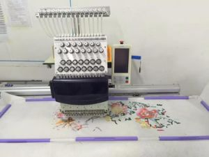 Single Head Big Area Flat Embroidery Machine for Cap, T-Shirt, Garment Embroidery Machine with 12/15 Colors for Hot Sales pictures & photos