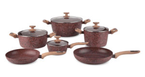 Granite Coated Aluminum Cookware Set with Wood-Look Handles