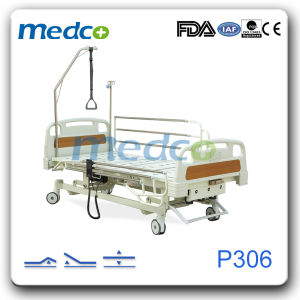 Hospital Nursing Furniture, Three Functions Manual Cum Electric Hospital Bed with Ce& ISO pictures & photos
