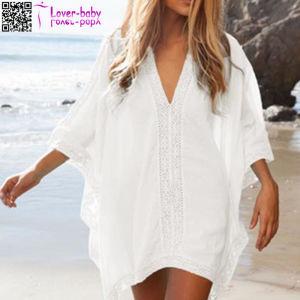 White Kimono Crochet Poncho Beachwear L38469-1 pictures & photos