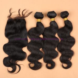 8A Grade Virgin Unprocessed Hair Malaysian Body Wave Bundles with Lace Closure Human Virgin Hair pictures & photos