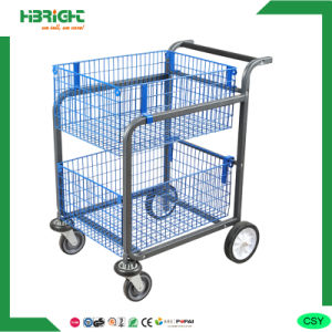 Double Layer Wire Warehouse Trolley Cart pictures & photos