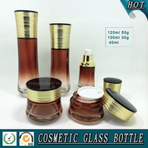 Gradient Brown Colored Glass Cosmetics Bottle and Jar Sets pictures & photos