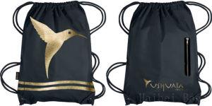 Gold Print Reusable Polyester Gym Sack, Drawstring Gymbag pictures & photos