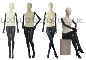 Fashion Linen Wrapped Female Mannequin with Wooden Arms