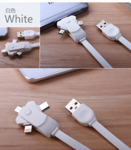 Rotating 3in1 USB Charging Cable for iPhone Android Type-C Smartphones pictures & photos