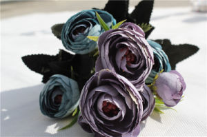 Factory Direct Blue Artificial Flower Silk Camellia for Wedding Decoration pictures & photos