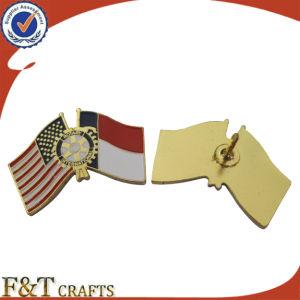 Custom Soft Enamel Plating Bronze Double Metal Flag Badge/Badge Pin/Metal Flag Badge pictures & photos