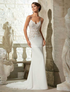 New Fashion Spaghetti Strap Bridal Gown Embroidary Wedding Dress pictures & photos