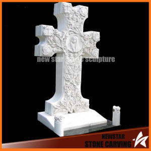 White Carrara Marble Carving Cross Tombstone for Grave Yard pictures & photos