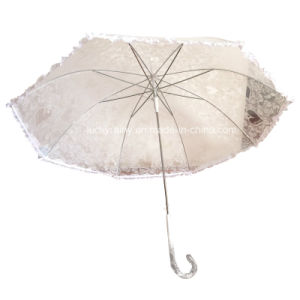 Ladies Fashion Plastic Transparent Poe Umbrella with Frill Design