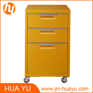 Office Furniture 3 Drawers Movable Metal Mint Filing Cabinet pictures & photos