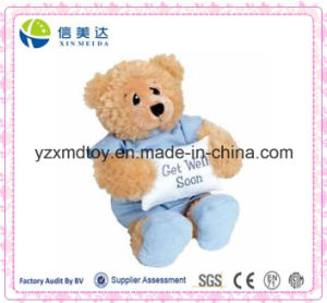 Get Well Soon Blue Hospital Gown & Slippers Plush Bear Toy pictures & photos