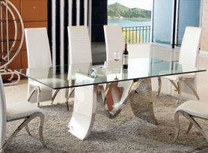Unique M Shape Glass Dining Table Set for Home (SDT-012)