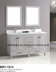"""60"""" White Wood Bathroom Vanity with Marble Top pictures & photos"""