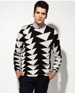 Wool Acrylic Long Sleeve Jacquard Patterned Pullover Man Sweater pictures & photos