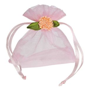 Custom Peach Gift Packaging Organza Drawstring Bags for Wedding (COB-1151) pictures & photos
