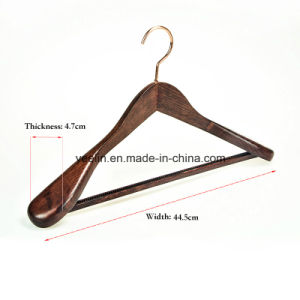 Wholesale High Quality Wooden Clothes / Suits / Coat Hanger with Rose Gold Metal Hook (YL-a005) pictures & photos