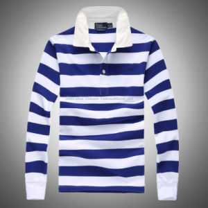 Striped Polo Shirt with Long Sleeve pictures & photos