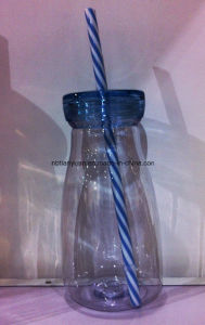 Plastic Milk Bottle with Straw pictures & photos