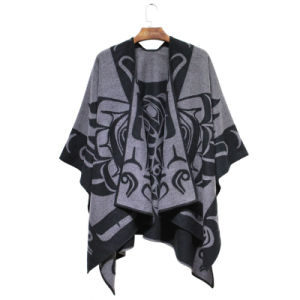 Woman Fashion Acrylic Woven Dobby Jacquard Winter Shawl (YKY4505) pictures & photos