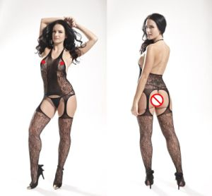 Halter Neck Sexy Fishnet Bodystocking with Backless Design 8888 pictures & photos