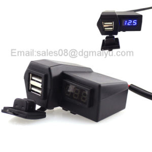12~24V Waterproof Motorcycle Car ATV Dual USB Charger Digital Voltmeter Cigarette Lighter Power Plug with Handlebar Mount pictures & photos