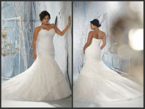 Plus Size Wedding Ball Gown Lace Tulle Sweetheart Vestidos Bridal Wedding Dress Ld11526 pictures & photos