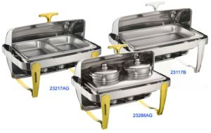 Full Size Hydraulic Roll-Top Chafing Dish Set with Silver/Golden Legs pictures & photos