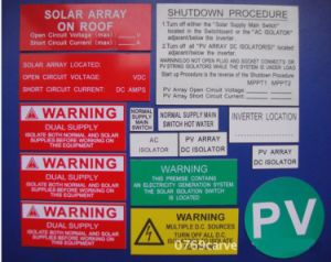 21 PCS/Set ABS Solar PV Warning Label Kits pictures & photos