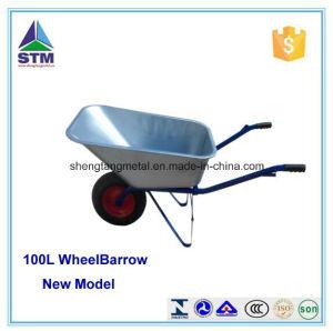 Garden Tool Galvanized Wheelbarrow with Two Wheel Wb6211 pictures & photos