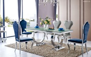 2016 Modern Glass Top Stainless Steel Dining Chair and Table pictures & photos