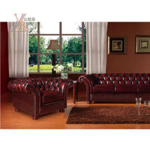 Antique Style Leather Sofa Set (S12)