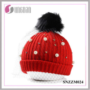 2016 Warm Fashion Pearl Rhinestone Ladies Mesh Wool Hats pictures & photos