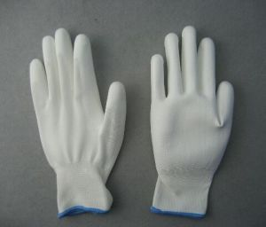 15g Nylon Liner White PU Coated Glove (5537) pictures & photos