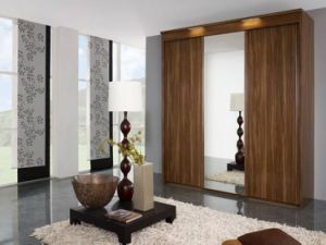 China Furniture Particle Wooden Board Three Doors Wardrobe pictures & photos