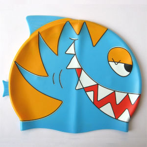 Shark Shape Silicone Cartoon Swimming Cap pictures & photos