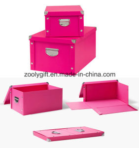 Durable Snap Foldable Paper Storage Box with Button and Handle pictures & photos