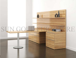 Newest Modern Melimine Office Bullet Desk with Bookcase Return (SZ-OD523) pictures & photos