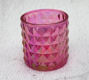 Hot Sale Colorful Ion Plating Glass Craft Candle Holders pictures & photos