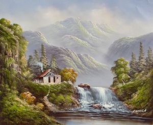 Mountain River Village Scenery Handmade Landscape Oil Painting (LH-349000) pictures & photos